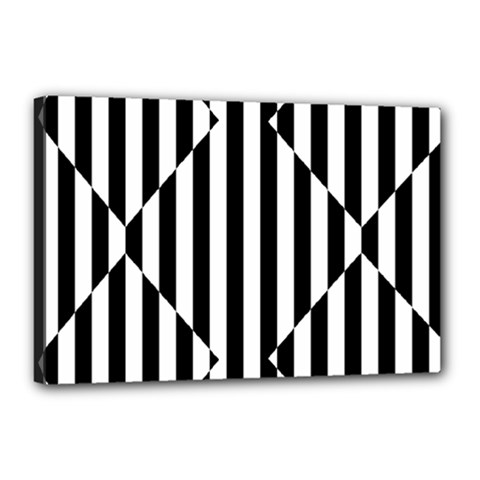 Optical Illusion Inverted Diamonds Canvas 18  X 12  by Mariart