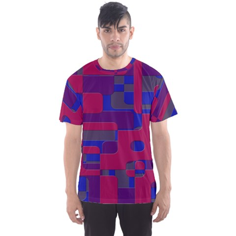 Offset Puzzle Rounded Graphic Squares In A Red And Blue Colour Set Men s Sports Mesh Tee by Mariart