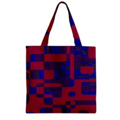 Offset Puzzle Rounded Graphic Squares In A Red And Blue Colour Set Zipper Grocery Tote Bag by Mariart