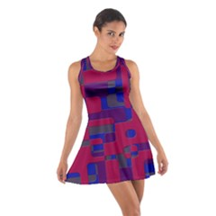 Offset Puzzle Rounded Graphic Squares In A Red And Blue Colour Set Cotton Racerback Dress