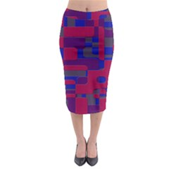Offset Puzzle Rounded Graphic Squares In A Red And Blue Colour Set Midi Pencil Skirt