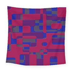 Offset Puzzle Rounded Graphic Squares In A Red And Blue Colour Set Square Tapestry (large) by Mariart