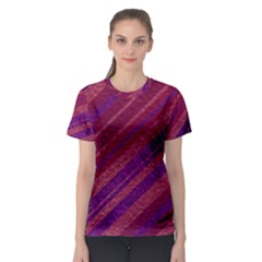 Maroon Striped Texture Women s Sport Mesh Tee by Mariart