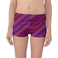 Maroon Striped Texture Reversible Boyleg Bikini Bottoms by Mariart