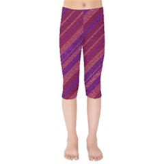 Maroon Striped Texture Kids  Capri Leggings  by Mariart