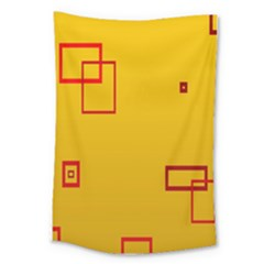 Overlap Squares Orange Plaid Red Large Tapestry by Mariart