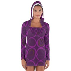 Original Circle Purple Brown Women s Long Sleeve Hooded T-shirt by Mariart