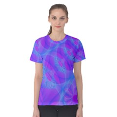 Original Purple Blue Fractal Composed Overlapping Loops Misty Translucent Women s Cotton Tee by Mariart