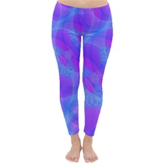 Original Purple Blue Fractal Composed Overlapping Loops Misty Translucent Classic Winter Leggings by Mariart