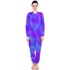 Original Purple Blue Fractal Composed Overlapping Loops Misty Translucent Onepiece Jumpsuit (ladies)