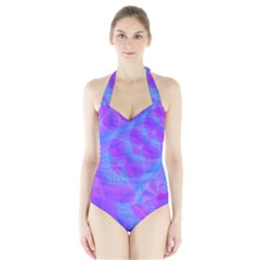 Original Purple Blue Fractal Composed Overlapping Loops Misty Translucent Halter Swimsuit by Mariart