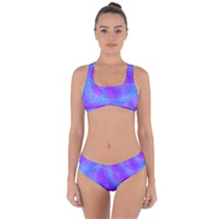 Original Purple Blue Fractal Composed Overlapping Loops Misty Translucent Criss Cross Bikini Set by Mariart