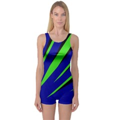 Rays Light Chevron Blue Green Black One Piece Boyleg Swimsuit by Mariart