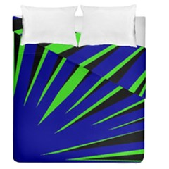 Rays Light Chevron Blue Green Black Duvet Cover Double Side (queen Size) by Mariart
