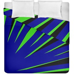 Rays Light Chevron Blue Green Black Duvet Cover Double Side (king Size) by Mariart