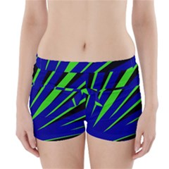 Rays Light Chevron Blue Green Black Boyleg Bikini Wrap Bottoms by Mariart