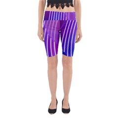 Rays Light Chevron Blue Purple Line Light Yoga Cropped Leggings by Mariart
