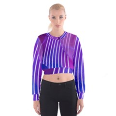 Rays Light Chevron Blue Purple Line Light Cropped Sweatshirt by Mariart