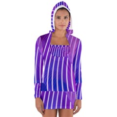 Rays Light Chevron Blue Purple Line Light Women s Long Sleeve Hooded T-shirt by Mariart