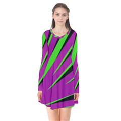 Rays Light Chevron Purple Green Black Flare Dress by Mariart