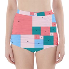 Simple Perfect Squares Squares Order High Waisted Bikini Bottoms by Mariart
