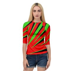 Rays Light Chevron Red Green Black Quarter Sleeve Tee by Mariart