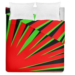 Rays Light Chevron Red Green Black Duvet Cover Double Side (queen Size) by Mariart