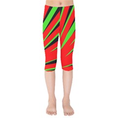 Rays Light Chevron Red Green Black Kids  Capri Leggings  by Mariart