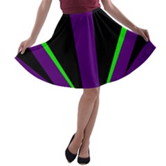 Rays Light Chevron Purple Green Black Line A Line Skater Skirt by Mariart