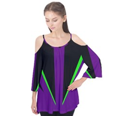 Rays Light Chevron Purple Green Black Line Flutter Tees by Mariart