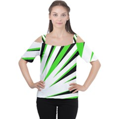 Rays Light Chevron White Green Black Women s Cutout Shoulder Tee by Mariart