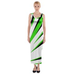 Rays Light Chevron White Green Black Fitted Maxi Dress