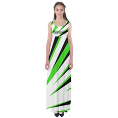 Rays Light Chevron White Green Black Empire Waist Maxi Dress