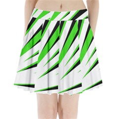 Rays Light Chevron White Green Black Pleated Mini Skirt