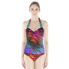 Rainbow Shake Light Line Halter Swimsuit