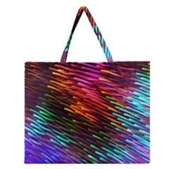 Rainbow Shake Light Line Zipper Large Tote Bag by Mariart