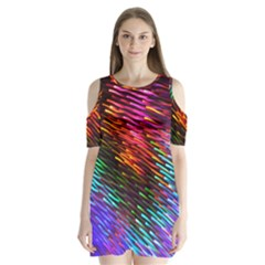 Rainbow Shake Light Line Shoulder Cutout Velvet  One Piece