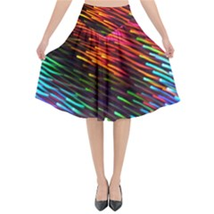 Rainbow Shake Light Line Flared Midi Skirt