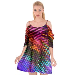 Rainbow Shake Light Line Cutout Spaghetti Strap Chiffon Dress