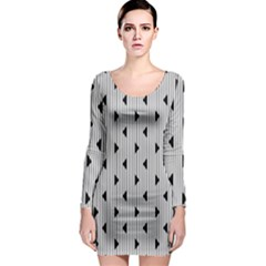 Stripes Line Triangles Vertical Black Long Sleeve Bodycon Dress