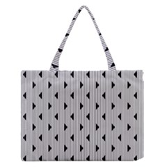 Stripes Line Triangles Vertical Black Medium Zipper Tote Bag by Mariart