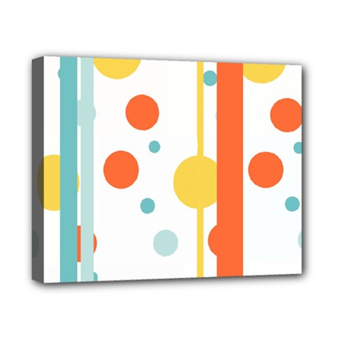 Stripes Dots Line Circle Vertical Yellow Red Blue Polka Canvas 10  X 8
