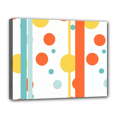 Stripes Dots Line Circle Vertical Yellow Red Blue Polka Canvas 14  X 11
