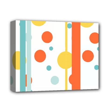 Stripes Dots Line Circle Vertical Yellow Red Blue Polka Deluxe Canvas 14  X 11  by Mariart