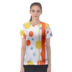 Stripes Dots Line Circle Vertical Yellow Red Blue Polka Women s Sport Mesh Tee