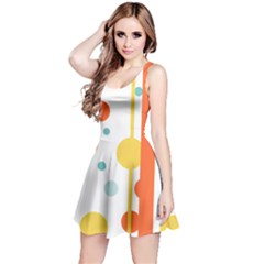 Stripes Dots Line Circle Vertical Yellow Red Blue Polka Reversible Sleeveless Dress