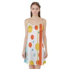 Stripes Dots Line Circle Vertical Yellow Red Blue Polka Satin Night Slip