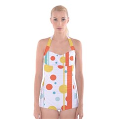 Stripes Dots Line Circle Vertical Yellow Red Blue Polka Boyleg Halter Swimsuit
