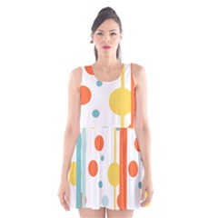 Stripes Dots Line Circle Vertical Yellow Red Blue Polka Scoop Neck Skater Dress