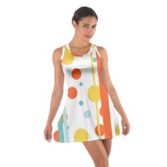 Stripes Dots Line Circle Vertical Yellow Red Blue Polka Cotton Racerback Dress